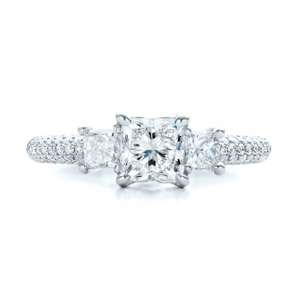 Custom Three Stone and Pave Diamond Engagement Ring - Top View