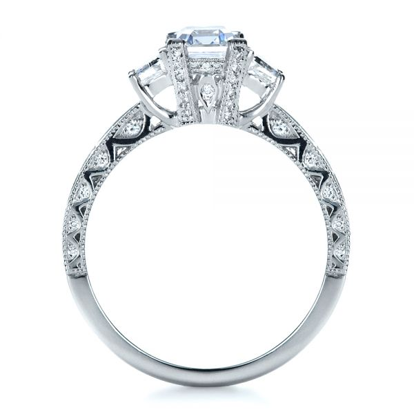 Custom Three Stone and Princess Cut Diamond Engagement Ring - Front View -  1267 - Thumbnail