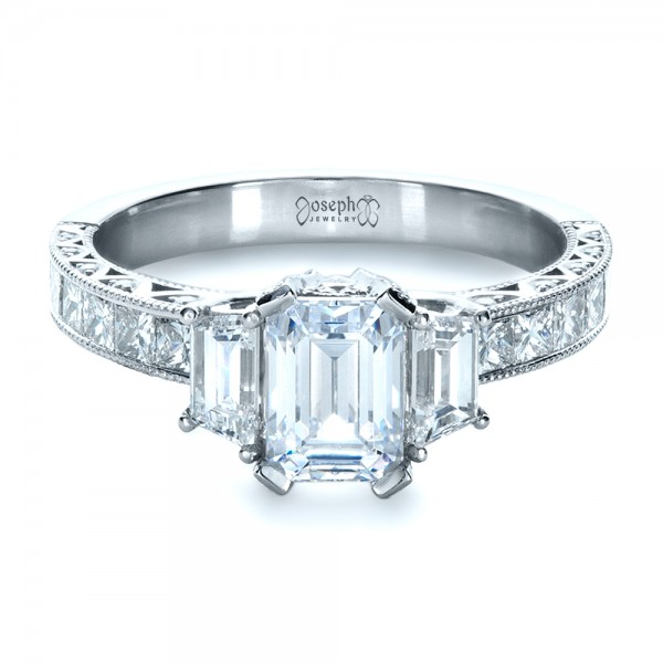 Custom Three Stone and Princess Cut Diamond Engagement Ring
