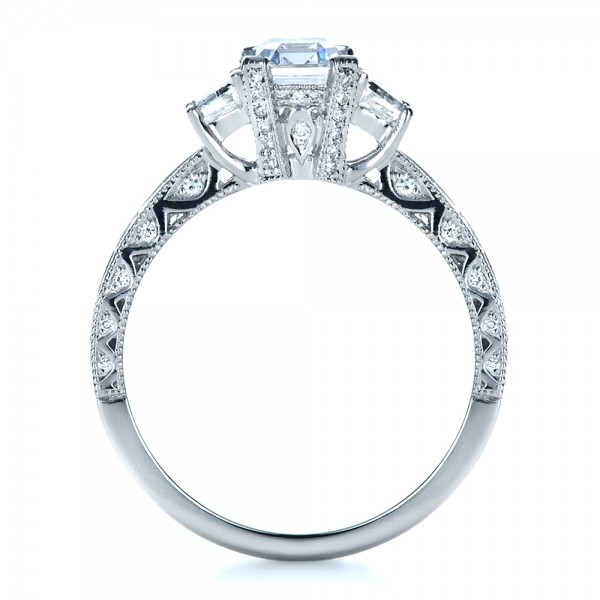 Custom Three Stone and Princess Cut Diamond Engagement Ring - Finger Through View