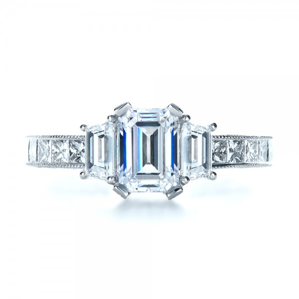 Custom Three Stone and Princess Cut Diamond Engagement Ring - Top View