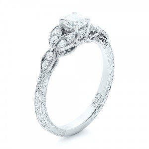 Custom Tri-Leaf Diamond Engagement Ring