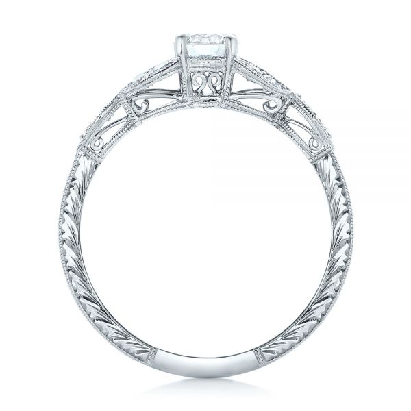 14k White Gold Custom Tri-leaf Diamond Engagement Ring - Front View -