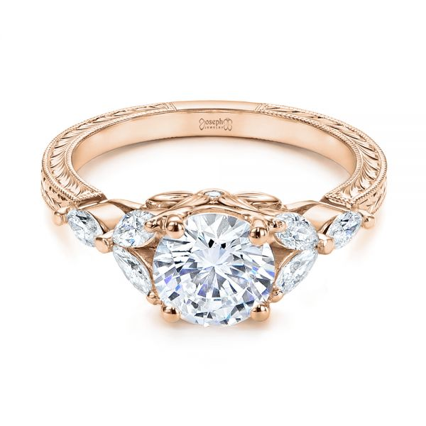 18k Rose Gold 18k Rose Gold Custom Tri-leaf Marquise Diamond Engagement Ring - Flat View -  105826