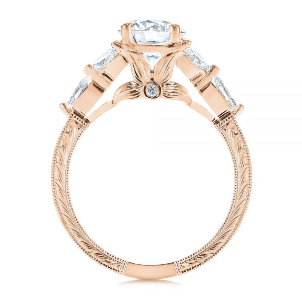 18k Rose Gold 18k Rose Gold Custom Tri-leaf Marquise Diamond Engagement Ring - Front View -  105826