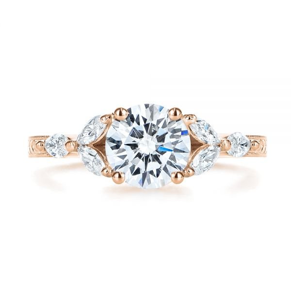 18k Rose Gold 18k Rose Gold Custom Tri-leaf Marquise Diamond Engagement Ring - Top View -  105826
