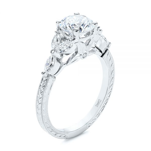 Custom Tri-Leaf Marquise Diamond Engagement Ring - Image