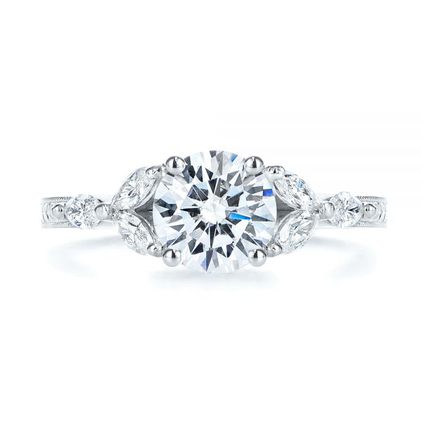 18k White Gold Custom Tri-leaf Marquise Diamond Engagement Ring - Top View -  105826