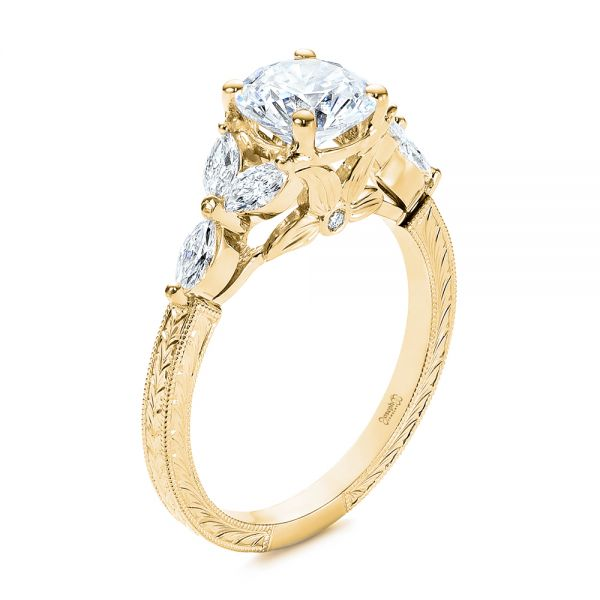 14k Yellow Gold 14k Yellow Gold Custom Tri-leaf Marquise Diamond Engagement Ring - Three-Quarter View -  105826