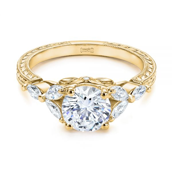 14k Yellow Gold 14k Yellow Gold Custom Tri-leaf Marquise Diamond Engagement Ring - Flat View -  105826