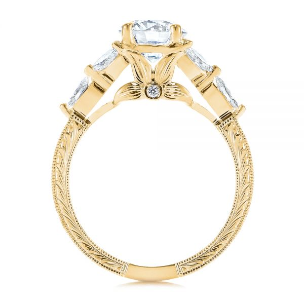 14k Yellow Gold 14k Yellow Gold Custom Tri-leaf Marquise Diamond Engagement Ring - Front View -  105826