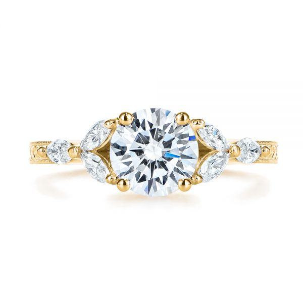 14k Yellow Gold 14k Yellow Gold Custom Tri-leaf Marquise Diamond Engagement Ring - Top View -  105826