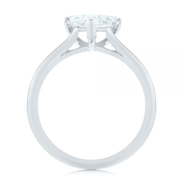 14k White Gold 14k White Gold Custom Trillion Diamond Solitaire Engagement Ring - Front View -