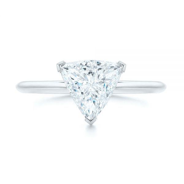 14k White Gold 14k White Gold Custom Trillion Diamond Solitaire Engagement Ring - Top View -