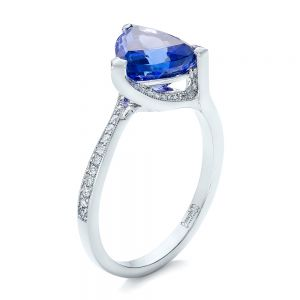 Custom Trillion Tanzanite Engagement Ring - Image