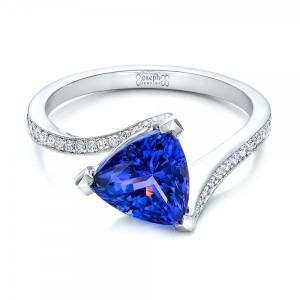 Custom Trillion Tanzanite Engagement Ring