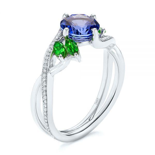 custom tsavorite blue sapphire and diamond engagement ring - Custom Wedding Ring