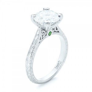 Custom Tsavorite and Diamond Engagement Ring