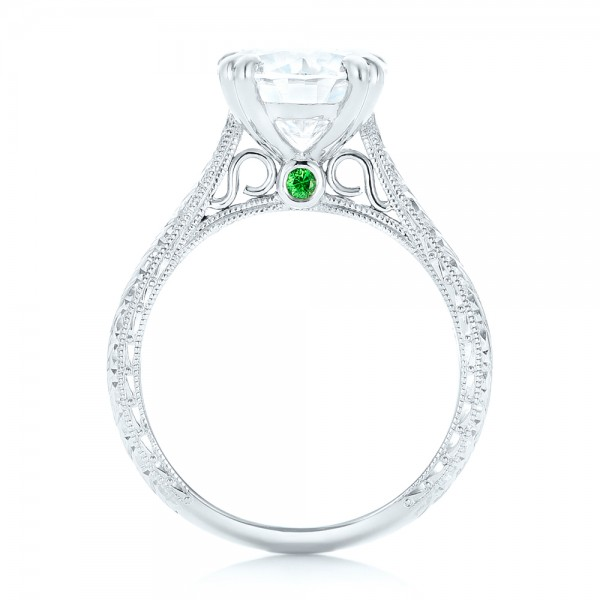 Custom Tsavorite and Diamond Engagement Ring - Finger Through View