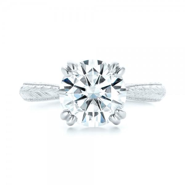 Custom Tsavorite and Diamond Engagement Ring - Top View