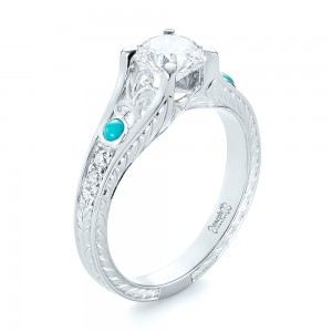 Custom Turquoise and Diamond Engagement Ring - Image
