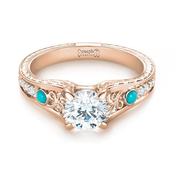 14k Rose Gold Custom Turquoise And Diamond Engagement Ring 103536