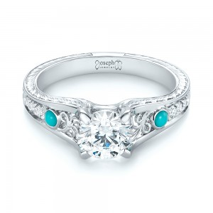Custom Turquoise and Diamond Engagement Ring