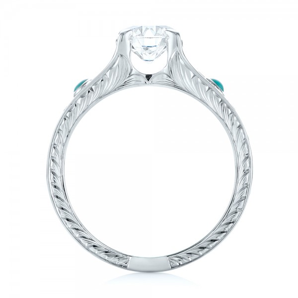 18k White Gold Custom Turquoise And Diamond Engagement Ring - Front View -  103536