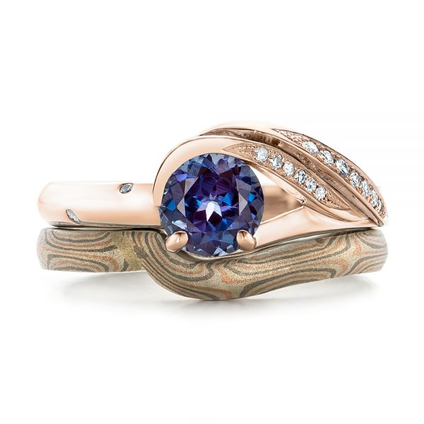 14k Rose Gold And 18K Gold 14k Rose Gold And 18K Gold Custom Two-tone Alexandrite And Diamond Engagement Ring - Three-Quarter View -  101566