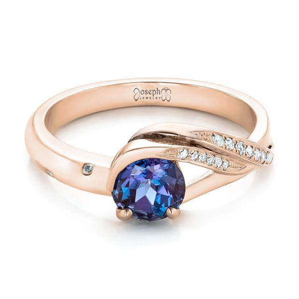 14k Rose Gold And 18K Gold 14k Rose Gold And 18K Gold Custom Two-tone Alexandrite And Diamond Engagement Ring - Flat View -  101566