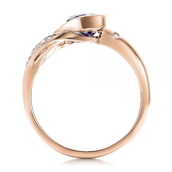 14k Rose Gold And 18K Gold 14k Rose Gold And 18K Gold Custom Two-tone Alexandrite And Diamond Engagement Ring - Front View -  101566