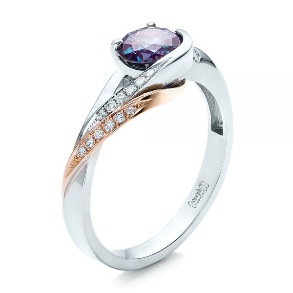 14k White Gold And 14K Gold Custom Two-tone Alexandrite And Diamond Engagement Ring - Three-Quarter View -  101566