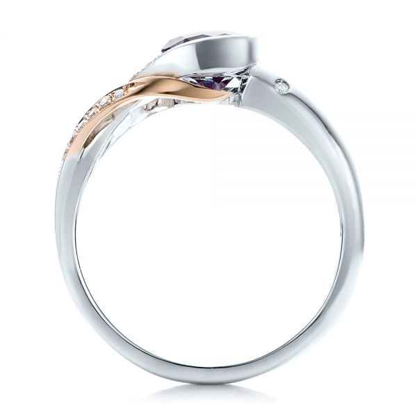 14k White Gold And 14K Gold Custom Two-tone Alexandrite And Diamond Engagement Ring - Front View -  101566