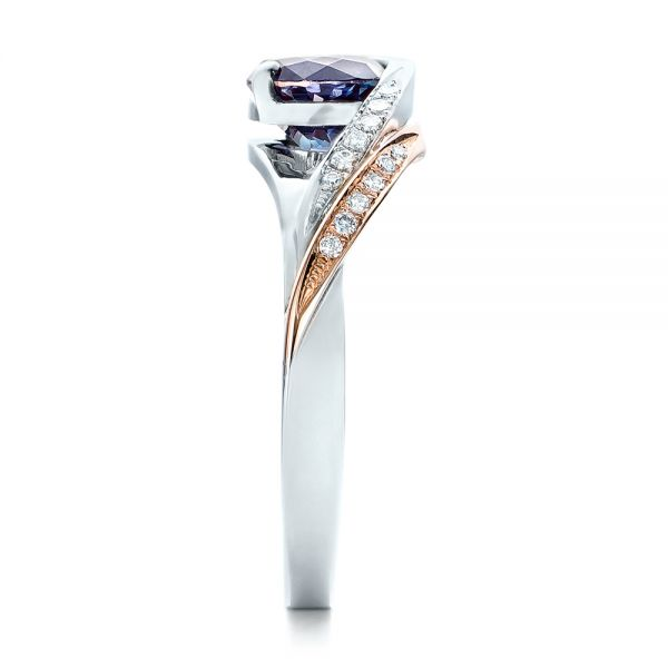 14k White Gold And 14K Gold Custom Two-tone Alexandrite And Diamond Engagement Ring - Side View -  101566