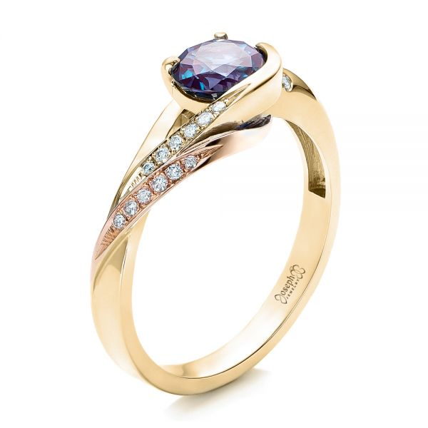 18k Yellow Gold And 14K Gold 18k Yellow Gold And 14K Gold Custom Two-tone Alexandrite And Diamond Engagement Ring - Three-Quarter View -