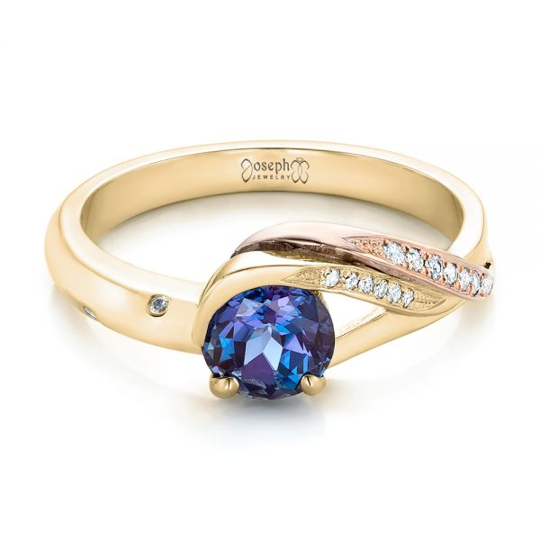 18k Yellow Gold And 14K Gold 18k Yellow Gold And 14K Gold Custom Two-tone Alexandrite And Diamond Engagement Ring - Flat View -