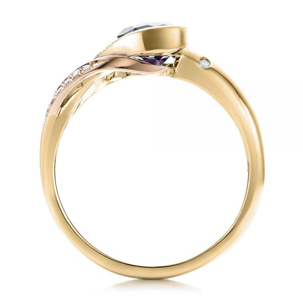 18k Yellow Gold And 14K Gold 18k Yellow Gold And 14K Gold Custom Two-tone Alexandrite And Diamond Engagement Ring - Front View -