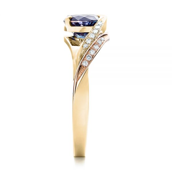 18k Yellow Gold And 14K Gold 18k Yellow Gold And 14K Gold Custom Two-tone Alexandrite And Diamond Engagement Ring - Side View -