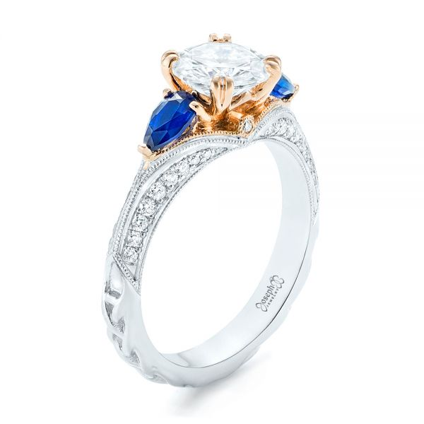 Custom Two-Tone Blue Sapphire and Diamond Engagement Ring - Image