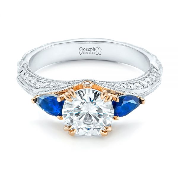 Platinum And 14K Gold Custom Two-tone Blue Sapphire And Diamond Engagement Ring - Flat View -