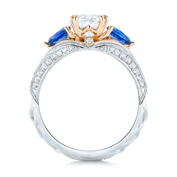 Platinum And 14K Gold Custom Two-tone Blue Sapphire And Diamond Engagement Ring - Front View -