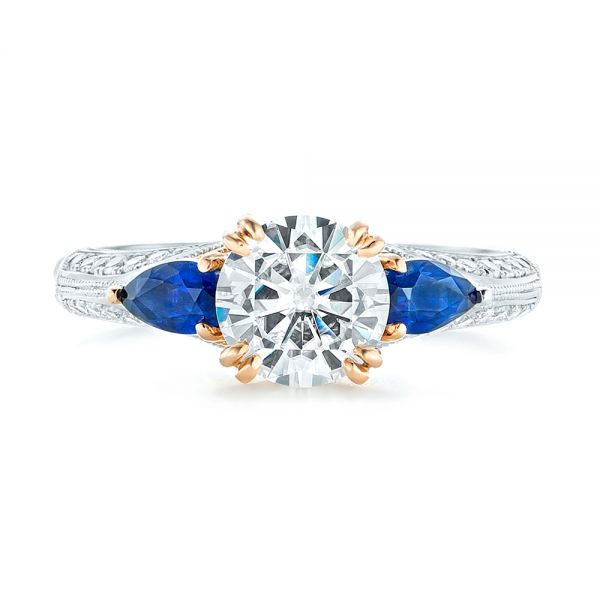 Platinum And 14K Gold Custom Two-tone Blue Sapphire And Diamond Engagement Ring - Top View -