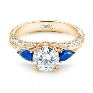 Custom Two-Tone Blue Sapphire and Diamond Engagement Ring