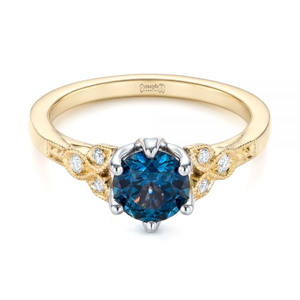 14k Yellow Gold And 14K Gold Custom Two-tone Blue Sapphire And Diamond Engagement Ring - Flat View -  104084
