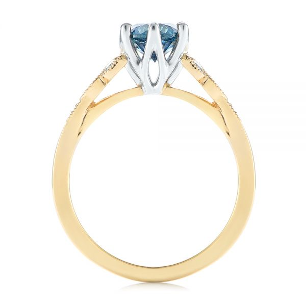 14k Yellow Gold And 14K Gold Custom Two-tone Blue Sapphire And Diamond Engagement Ring - Front View -  104084