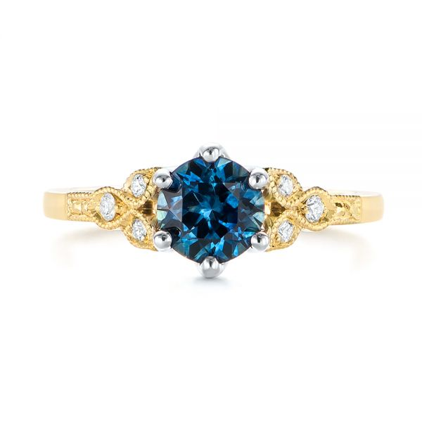 14k Yellow Gold And 14K Gold Custom Two-tone Blue Sapphire And Diamond Engagement Ring - Top View -  104084