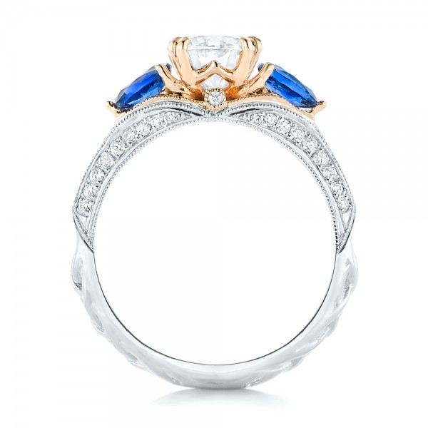 Custom Two-Tone Blue Sapphire and Diamond Engagement Ring - Finger Through View