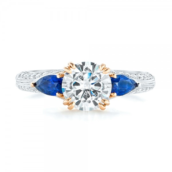 Custom Two-Tone Blue Sapphire and Diamond Engagement Ring - Top View