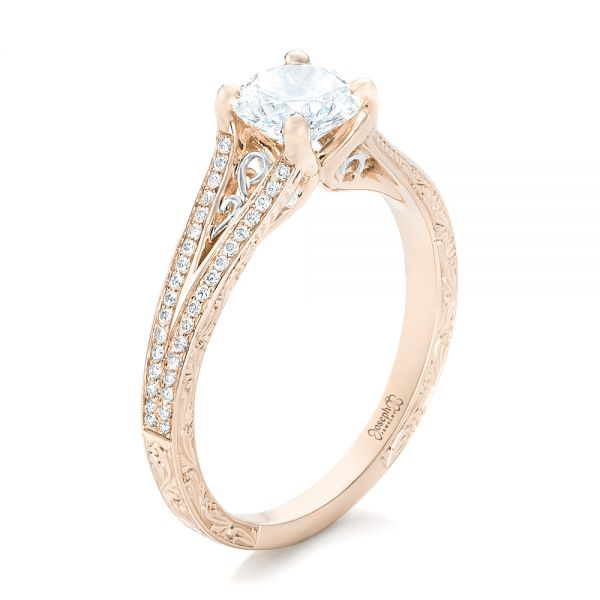 14k Rose Gold And 14K Gold 14k Rose Gold And 14K Gold Custom Two-tone Diamond Engagement Ring - Three-Quarter View -