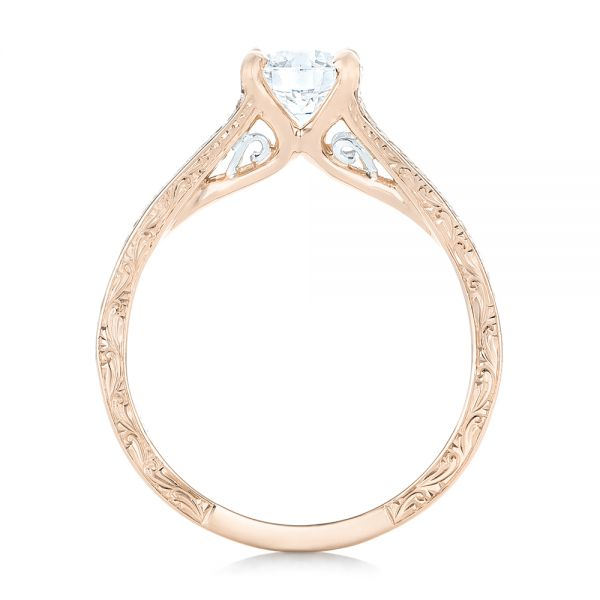 14k Rose Gold And 14K Gold 14k Rose Gold And 14K Gold Custom Two-tone Diamond Engagement Ring - Front View -